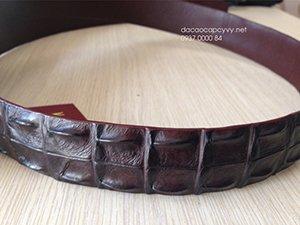 Thắt lưng da cá sấu màu socola GL