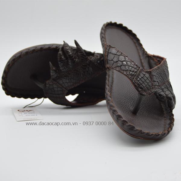 Dép móng chân cá sấu thật màu nâu