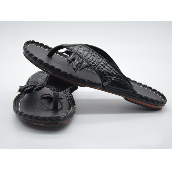Dép da cá sấu móng chân màu đen
