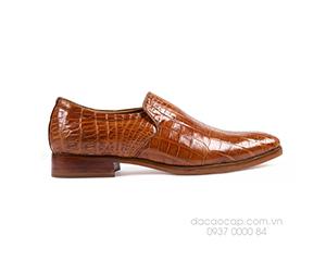 Giày da cá sấu mũi nhọn nâu đỏ