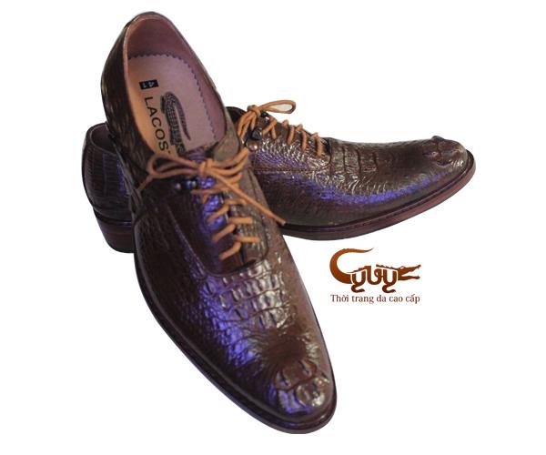 Giày nam da cá sấu nguyên con màu nâu
