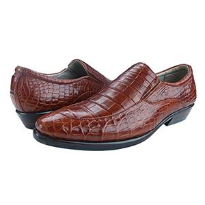 Giày da cá sấu trơn màu nâu đỏ