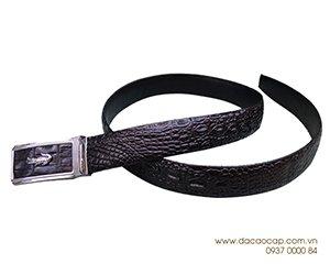 Thắt lưng da cá sấu bông hông đen