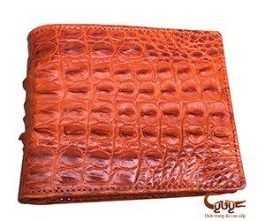Ví da cá sấu 2 mặt gai lưng màu vàng