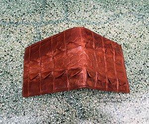 Ví da cá sấu 2 mặt gai đuôi nâu đỏ